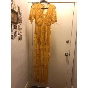 Long mustard yellow lace dress
